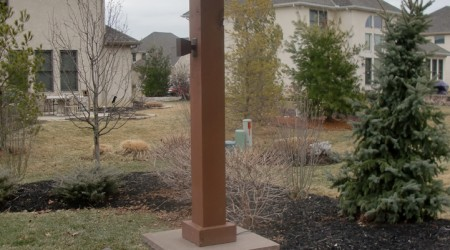 Arbor with Cultured Stone Pillar