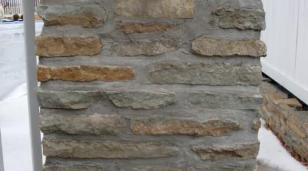 Stone Column with Decorative Lizard
