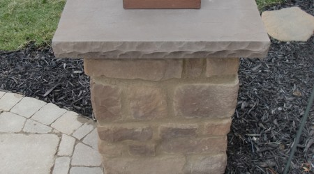 Cultured Stone Column with Precast Concrete Cap