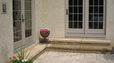 Cut Stone Steps and Paver Patio