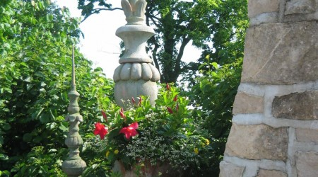 Fireplace with garden ornaments