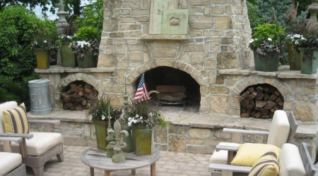 Outdoor Living Room and Stone Fireplace