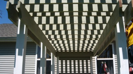 Pergola displaying shadows