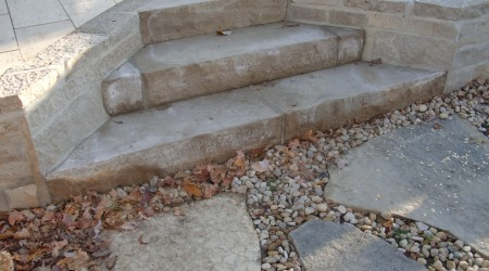 Limestone Masonry Wall and Steps for raised patio