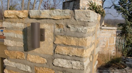 Sconce Lighting Fixture on Stone Column