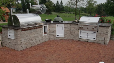 Kitchen with Smoker, Green Egg, Sink, and Grill