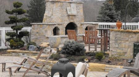 Limestone Fireplace in Winter