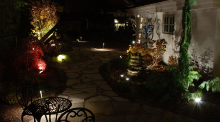 Flagstone Walkway with Landscape Lighting