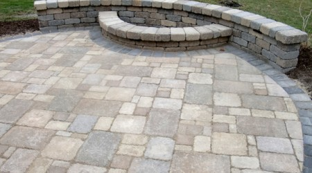 Patio with Firepit built into Seatwall