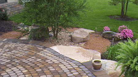 Stone Slab Steps descending into yard