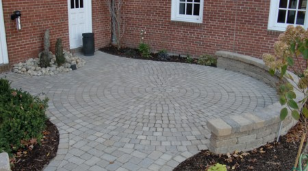 Water Feature with Circular Paver Patio