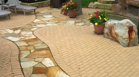 Running Bond Patterned Pavers with Flagstone Inset