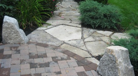 Flagstone Pathway with Limestone Boulders