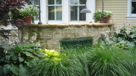 Fountain Grass & Hostas