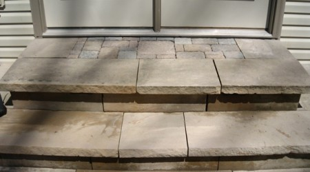 Sandstone Steps with Paver Inset