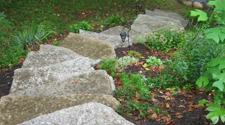 Spiral Limestone Steps leading to Firepit