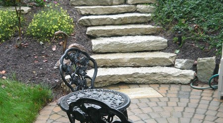 Natural Stone Stairs leading to Patio