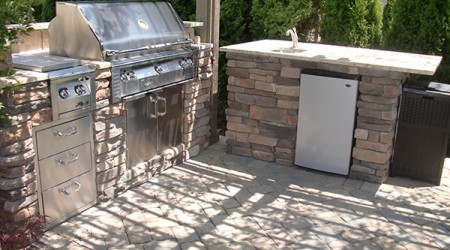 Grill, Cook-top, Sink, Drawers, & Storage Cabinet