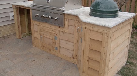 Granite Counter-top with Egg Smoker and Grill
