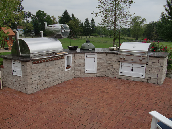 Outdoor Kitchen With Smoker Grill And Bge Outdoor